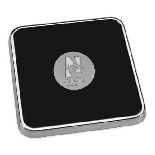 Northwestern Wildcats Mascot Design Silver Medallion Silver Tone & Leather Coaster