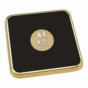 Northwestern Wildcats Mascot Design Gold Medallion Gold Tone & Leather Coaster