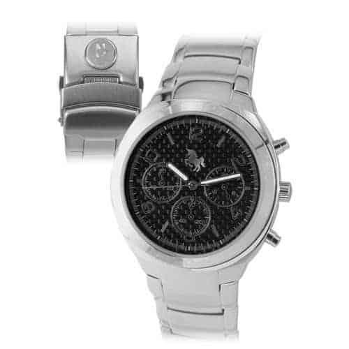 Northwestern Wildcats Mascot Design Silver Medallion Men's Wristwatch