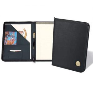 Northwestern Wildcats Mascot Design Gold Medallion Simulated Leather Zippered Portfolio