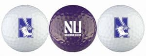 Northwestern Wildcats Golf Balls Set of 3, Two White and a Purple