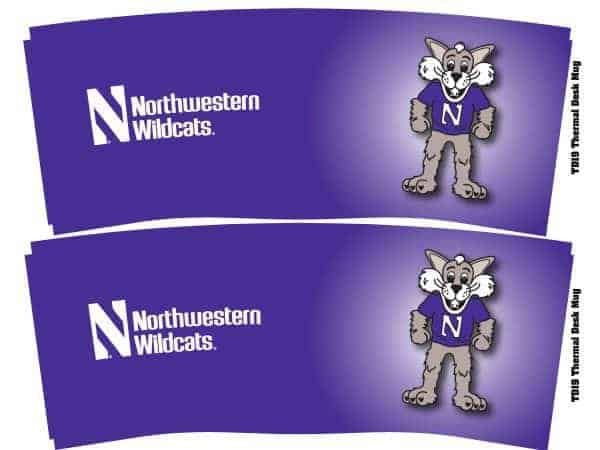 Northwestern Wildcats 14 oz. Willie the Wildcat Design Desk Mug with Lid