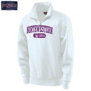 Northwestern Wildcats White 1/4 Zip Sweatshirt with Purple Applique Embroidery