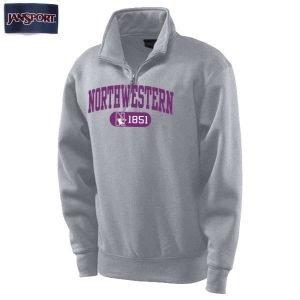 Northwestern Wildcats Light Grey 1/4 Zip Sweatshirt with Purple Applique Embroidery
