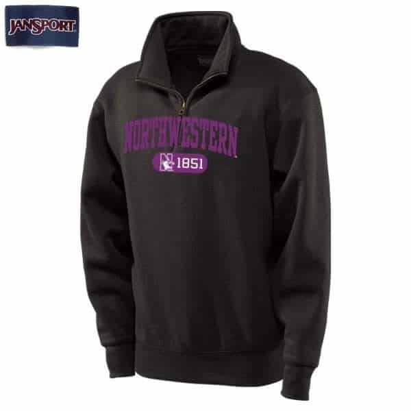 Northwestern Wildcats Black 1/4 Zip Sweatshirt with Purple Applique Embroidery