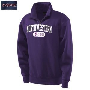 Northwestern Wildcats Purple 1/4 Zip Sweatshirt with White Applique Embroidery