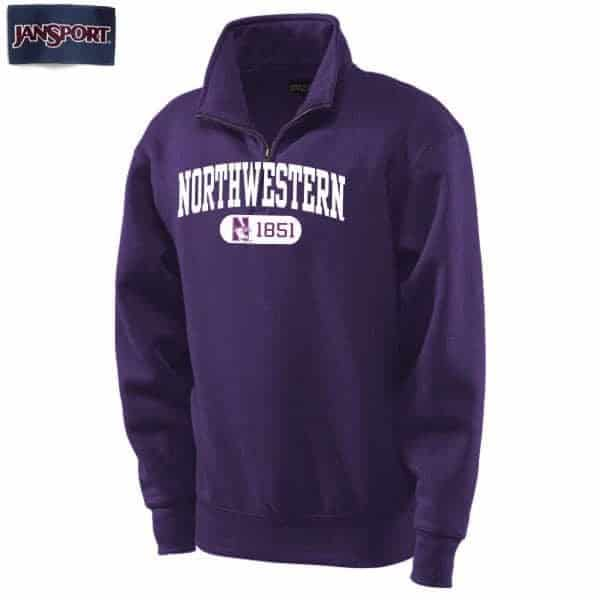 Northwestern Wildcats Purple 1/4 Zip Sweatshirt with White Applique Embroidery