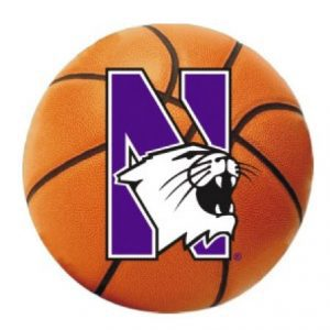 "Northwestern Wildcats Outside Application Decal with N-cat on a Full Color Basketball Image 6"" x 6"""