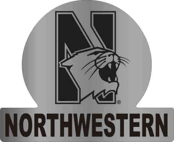 Northwestern Wildcats Auto Badge with N-Cat Northwestern Design