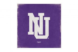 "Northwestern Wildcats Square Vintage Canvas Wall Art with Vintage Interlock NU Logo 14""X14"""