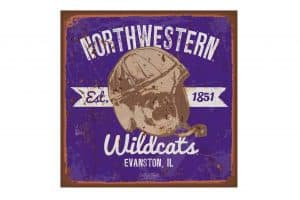 "Northwestern Wildcats Square Vintage Canvas Wall Art with Vintage Helmet Logo 14""X14"""