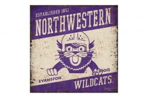 Northwestern Wildcats Square Vintage Tin Sign with Vintage Wildcat Wearing a Helmet