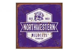 Northwestern Wildcats Square Vintage Tin Sign with Vintage  Old Wildcat Logo and 1851 Established Date
