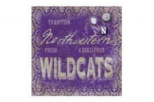 Northwestern Wildcats Square Vintage Tin Sign with Vintage  Script Northwestern Wildcat Design