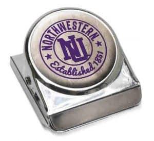 """Northwestern Wildcats White Dome Fridge Magnet Clip """"Northwestern with Interlock NU"""" Design"""