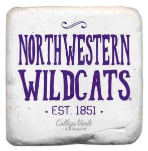 "Northwestern Wildcats Tumbled Coaster with ""Northwestern Wildcats Established 1851"" Design"