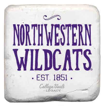 "Northwestern Wildcats Tumbled Coaster with ""Northwestern Wildcats Established 1851"" Design"