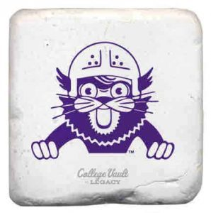 "Northwestern Wildcats Tumbled Coaster with ""Wildcat with Helmet"" Design"