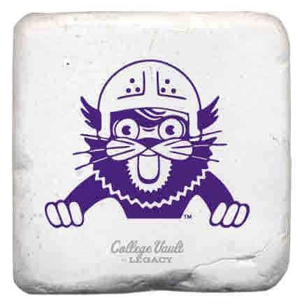 "Northwestern Wildcats Tumbled Coaster with ""Wildcat with Helmet"" Design"