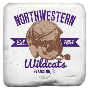 "Northwestern Wildcats Tumbled Coaster with ""Northwestern Wildcats & Vintage Football Helmet with 1851 Established Date"" Design"