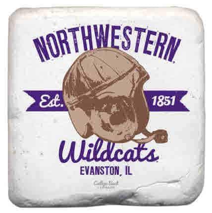 "Northwestern Wildcats Tumbled Coaster with ""Northwestern Wildcats & Vintage Football Helmet with 1851 Established Date"" Design"