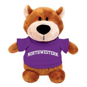 Northwestern Wildcats Bean Bag Buddy Bear Wearing a Purple Northwestern Tee Shirt