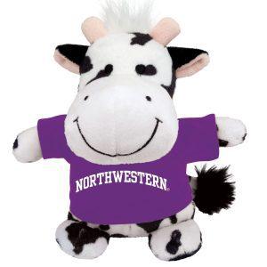 Northwestern Wildcats Bean Bag Buddy Cow Wearing a Purple Northwestern Tee Shirt