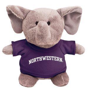 Northwestern Wildcats Bean Bag Buddy Elephant Wearing a Purple Northwestern Tee Shirt