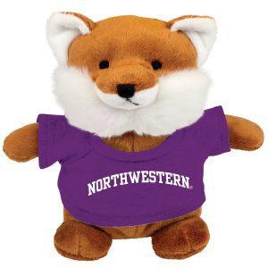 Northwestern Wildcats Bean Bag Buddy Fox Wearing a Purple Northwestern Tee Shirt