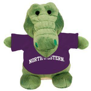 Northwestern Wildcats Bean Bag Buddy Gator Wearing a Purple Northwestern Tee Shirt