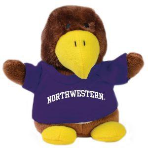 Northwestern Wildcats Bean Bag Buddy Hawk Wearing a Purple Northwestern Tee Shirt