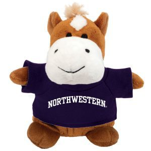 Northwestern Wildcats Bean Bag Buddy Horse Wearing a Purple Northwestern Tee Shirt