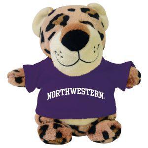 Northwestern Wildcats Bean Bag Buddy Leopard Wearing a Purple Northwestern Tee Shirt
