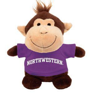 Northwestern Wildcats Bean Bag Buddy Monkey Wearing a Purple Northwestern Tee Shirt