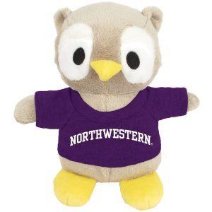 Northwestern Wildcats Bean Bag Buddy Owl Wearing a Purple Northwestern Tee Shirt