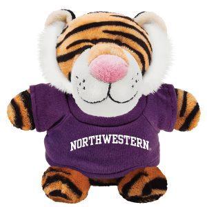 Northwestern Wildcats Bean Bag Buddy Tiger Wearing a Purple Northwestern Tee Shirt