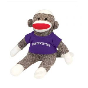"Northwestern Wildcats Sock Monkey Wearing Purple ""Northwestern"" Tee Shirt"