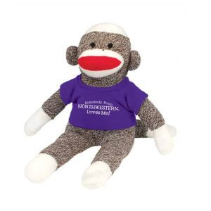 "Northwestern Wildcats Sock Monkey Wearing Purple ""Somebody From Northwestern Loves Me"" Tee Shirt"