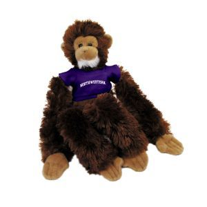 "Northwestern Wildcats Brown Manny The Monkey Wearing Purple ""Northwestern"" Tee Shirt"
