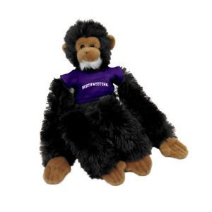 "Northwestern Wildcats Black Manny The Monkey Wearing Purple ""Northwestern"" Tee Shirt"