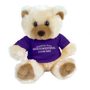 "Northwestern Wildcats Teddy Bear Max Wearing Purple ""Somebody From Northwestern Loves Me"" Tee Shirt"