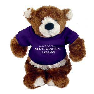 "Northwestern Wildcats Teddy Bear Spencer Jr. Wearing Purple ""Somebody From Northwestern Loves Me"" Tee Shirt"