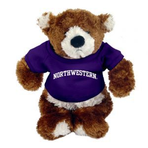 "Northwestern Wildcats Teddy Bear Spencer Wearing Purple ""Northwestern"" Tee Shirt"
