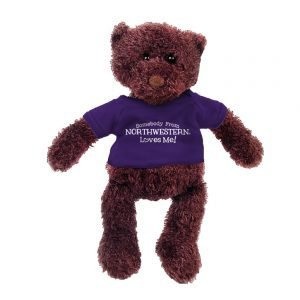 "Northwestern Wildcats Gund Teddy Bear Phil Wearing Purple ""Somebody From Northwestern Loves Me"" Tee Shirt"
