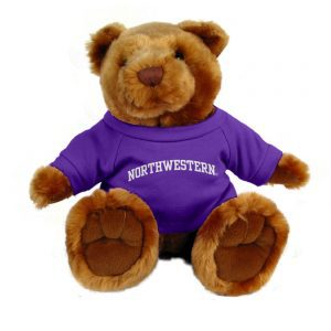 "Northwestern Wildcats Teddy Bear Light Brown Knuckles Wearing Purple ""Northwestern"" Tee Shirt"