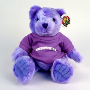 "Northwestern Wildcats Teddy Bear Lavender Knuckles Wearing Purple ""Northwestern"" Tee Shirt"
