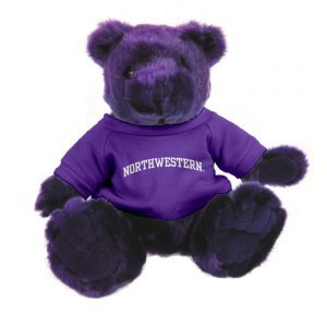 "Northwestern Wildcats Teddy Bear Purple Knuckles Wearing Purple ""Northwestern"" Tee Shirt"