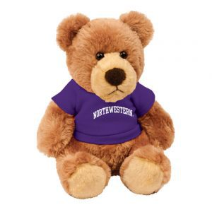 "Northwestern Wildcats Teddy Bear Barney Wearing Purple ""Northwestern"" Tee Shirt"