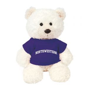 "Northwestern Wildcats Teddy Bear Baxter Cream Wearing Purple ""Northwestern"" Tee Shirt"