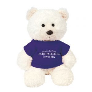 "Northwestern Wildcats Teddy Bear Baxter Cream Wearing Purple ""Somebody From Northwestern Loves Me"" Tee Shirt"